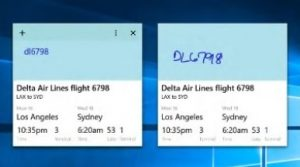 two notes with flight numbers and status